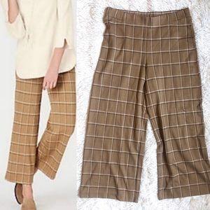 J. Jill Camel Plaid Ponte Full Leg Crop Pants NWT